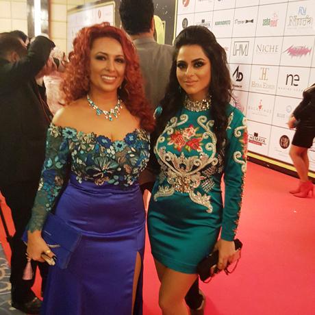 Armenian Fashion designer Nuria and her assistant Lili on the red carpet photo Ghada Abdel-Kader