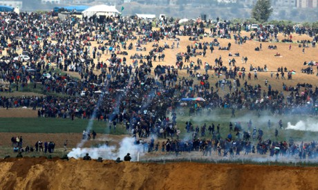 Palestinians protest on the Gaza