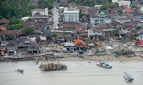 An aerial view of an affected area after a tsunami hit the coast of Pandeglang, Banten province, Ind