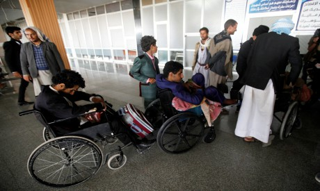 Wounded Houthi fighters