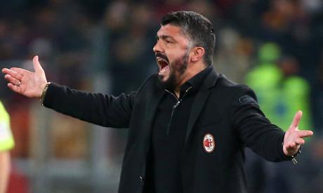 AC Milan coach Gennaro Gattuso reacts (Reuters)