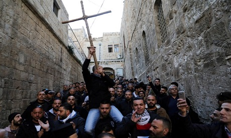 Protest to reopen the Church of the Holy Sepulchre