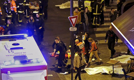 A general view of the scene outside a restaurant following shooting incidents in Paris, France, Nove