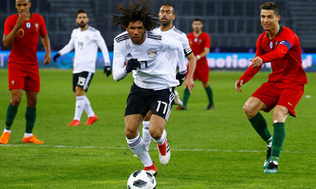 Mohamed Elneny in action with Portugal