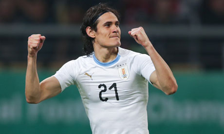 Edinson Cavani of Uruguay celebrates scoring a goal. (Reuters)