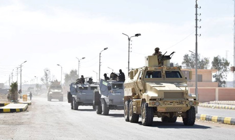 Vehicles of Egyptian Army and police special forces are seen in the troubled northern part of the Si