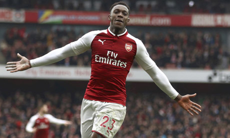 942a0408e Arsenal s Danny Welbeck celebrates scoring his side s second goal of the  game