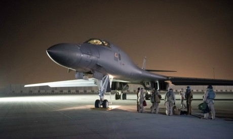 A U.S. Air Force B-1B Lancer and crew, being deployed to launch strike as part of the multinational