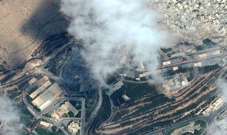 A satellite image shows the Barzah Research and Development Center after being struck by U.S. and co
