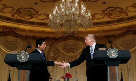 U.S. President Donald Trump (R) and Japan