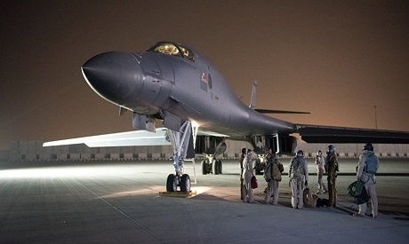 A US Air Force B-1B Lancer and crew, being deployed to launch strike as part of the multinational re
