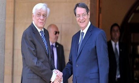 Greek Prokopis Pavlopoulos and his counterpart Cypriot President Nicos Anastasiades