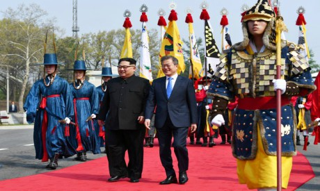 South Korean President Moon Jae-in and North Korean leader Kim Jong Un meet in the truce village of