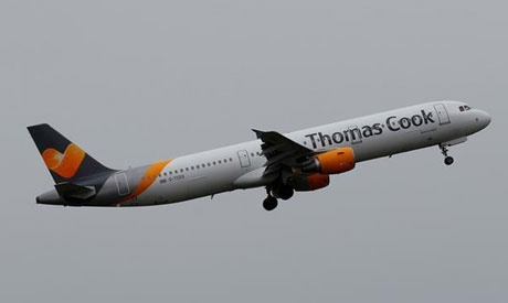 File photo; A Thomas Cook plane takes off from Liverpool John Lennon Airport in Liverpool northern E