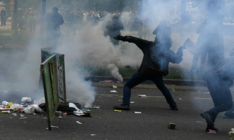 French anti-capitalist protesters clashed with police in Paris on Tuesday on the sidelines of a marc