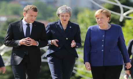 Macron, May, Merkel during EU summit