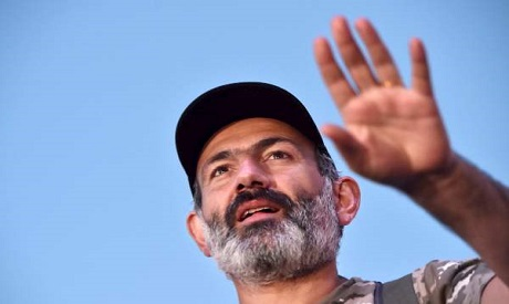 Armeniian opposition leader Nikol Pashinyan attends a rally in Yerevan on May 2, 2018