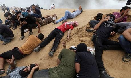 gaza protest tear gas