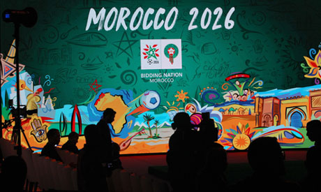 A giant screen displays the logo of Morocco 2026 (AP)