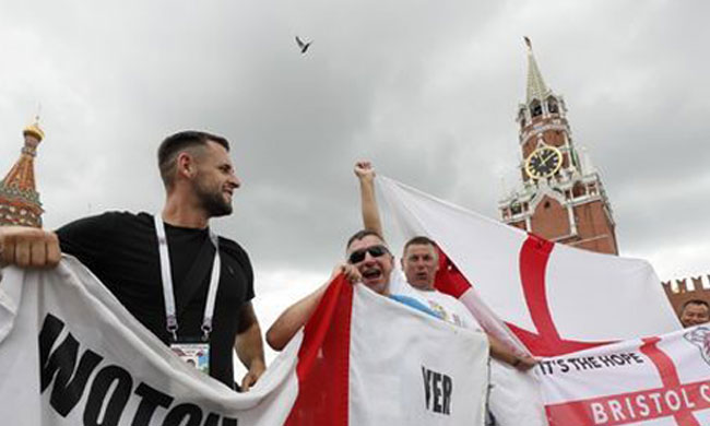 Supporters of team England gather in Red Square