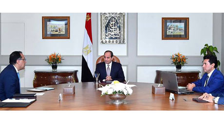Egyptian President Abdel Fattah El-Sisi meeting with Minister of Youth and Sports Ashraf Sobhy on Tu