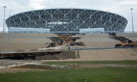 A view shows a landslide, caused by heavy rain, near the Volgograd Arena in Volgograd, a host city f