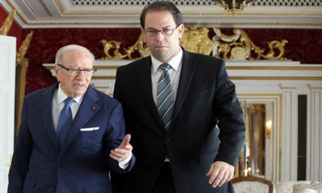 Beji Caid Essebsi and Youssef Chahed