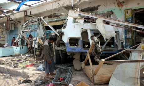 Destroyed bus, Yemen