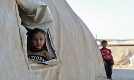 Syrian boy in a refugee camp