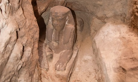 Egyptian archaeological mission stumbled upon a sandstone statue of a Sphinx during excavation work