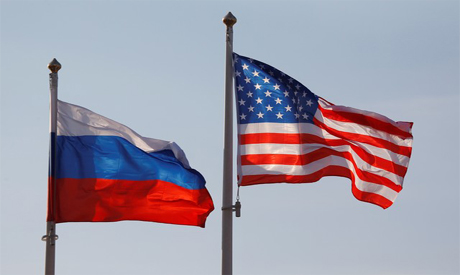Russia and USA flags