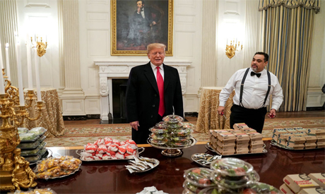 Trump with the burgers