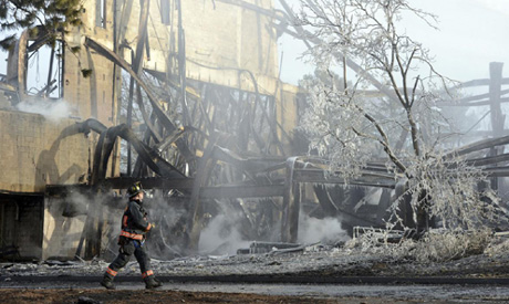 Shakespeare theater fire (AP)