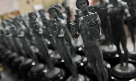 In this Jan. 9, 2014 file photo, finished Screen Actors Guild awards are pictured at American Fine
