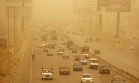 File photo: Vehicles drive during a sandstorm in Cairo, Egypt (AP)