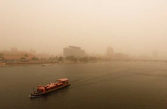 A view of Cairo as a sandstorm hits the city, Egypt January 16, 2019. REUTERS