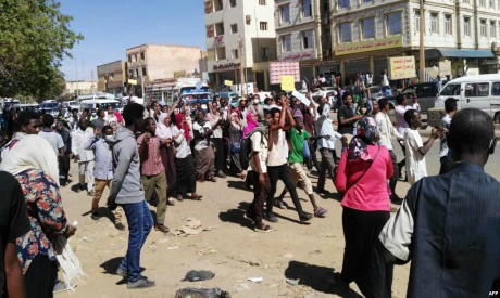 Sudanese demonstrators in Omdurman