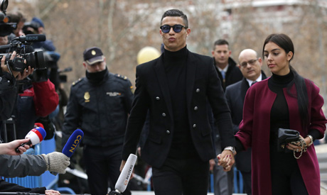 Cristiano Ronaldo arrives at the court in Madrid on Tuesday, Jan. 22, 2019. (AP)