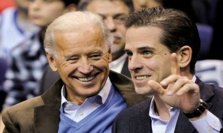 Former U.S. Vice President Biden and his son Hunter