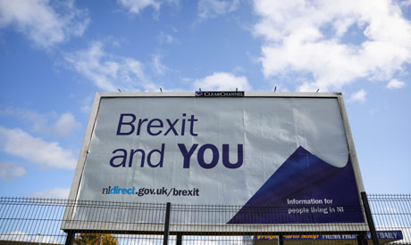 A government Brexit advice poster is seen in the Bogside area of Londonderry, Northern Ireland Octob