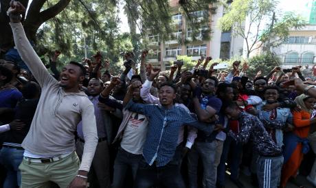 Oromo youth shout slogans outside Jawar Mohammed
