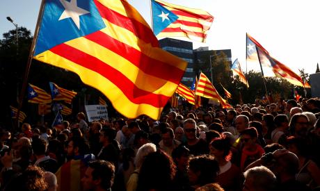 Catalan pro-independence demonstrators