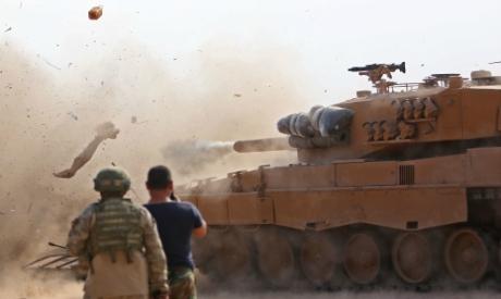 Turkish soldiers in Ras al-AIn town
