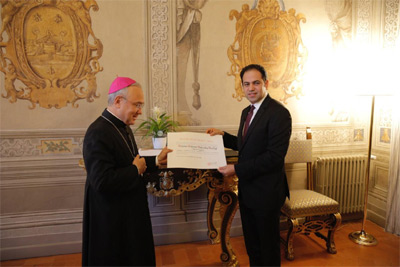 Abdel-Salam received the honour at a ceremony in Vatican City from the Substitute for General Affair