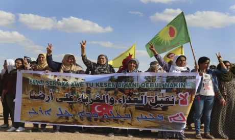 Kurdish women demonstration against possible Turkish military operation