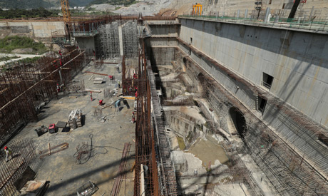 A general view of the the Grand Ethiopian Renaissance Dam (GERD), near Guba in Ethiopia (AFP)