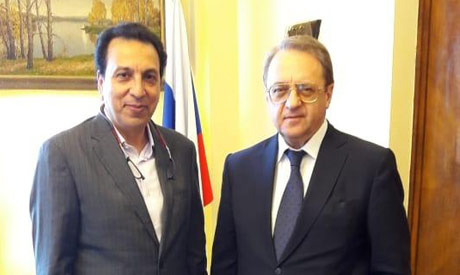 Russian deputy Minister of Foreign Affairs Mikhail Bogdanov with Sherif Gad in Moscow (Photo courtes