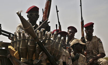 Sudanese soldiers from the Rapid Support Forces unit secure the area where. (AP)