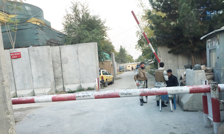 Security forces cordoning streets in Kabul