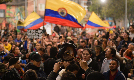 People take part in a protest against the government of Colombia